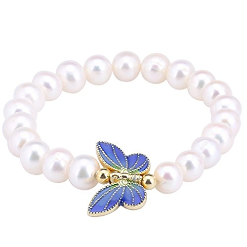 8-9mm Cultured Freshwater Pearl 18K Gold Plated Butterfly Cloisonne Bracelet (Cute Flapper Costumes)