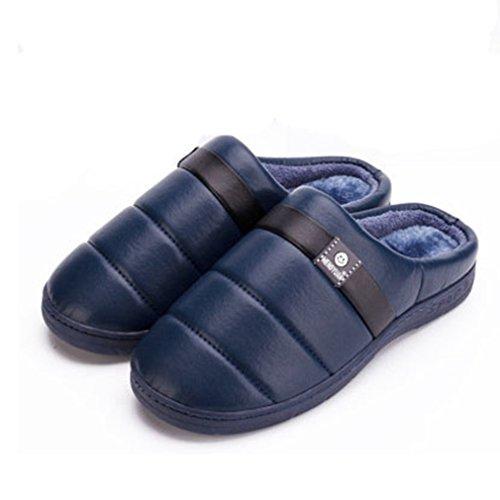 Giy Inverno Caldo Donna Uomo Coppie Pantofole Morbido Morbido Peluche Accogliente Antiscivolo Pantofole Casa Pantofola Blu