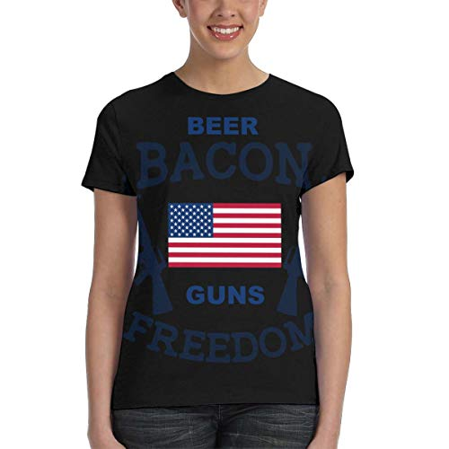 Beer Bacon Guns and Freedom, Goddess Full Printing Energy Black Guns,Military Jersey M