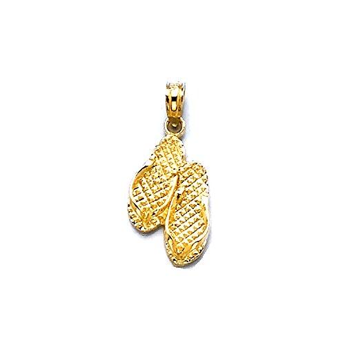 14k Yellow Gold Travel Charm Pendant, Pawleys Island Double Flip-flop SC (South Carolina) by Million Charms
