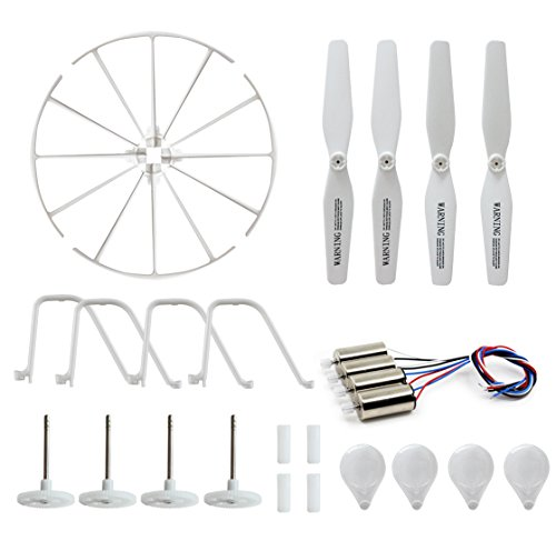 4 Spare Parts - BTG Motor Parts for Syma X5UC X5UW RC Quadcopter- Spare Parts: 4 Motors; 4 Gear Sets; 4 Propellers, 4 Protection frames, 4 Landing Gears