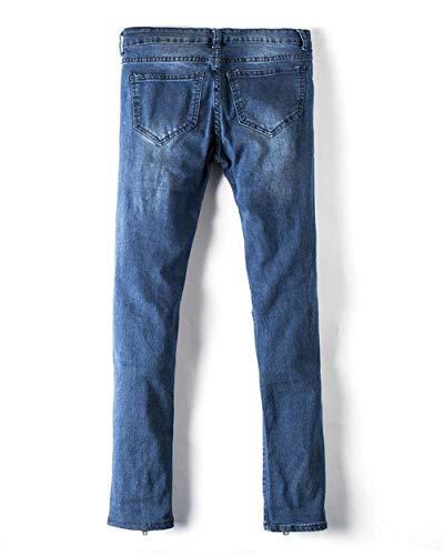Casual De Mezclilla Ripped Blau Jeans Los Pantalón Rasgados Vintage Cómodo Pantalones Battercake Hombres Cónica 7Uqx5BUw