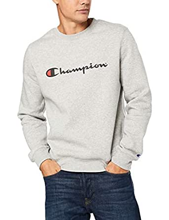 Champion Men's Champion Men's Script Crew Pullover Sweat, Oxford Heather, Small