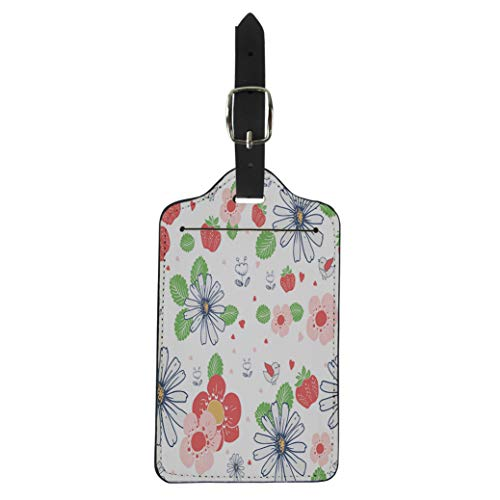 Pinbeam Luggage Tag Colorful Floral Pattern Daisies Strawberries and Birds Kid Suitcase Baggage Label