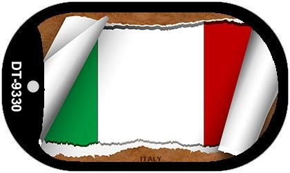 Italy Flag Scroll Metal Novelty Dog Tag Necklace DT-9330 by Smart Blonde