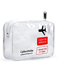 TSA Approved Toiletry Bag | Clear Travel Bag| Makeup Bag Travel Airport Airline Compliant Bag | Carry-On Luggage Travel Backpack for Liquids/Bottles| Men's/Women's 3-1-1 Kit +10 Travel Hacks EBOOK