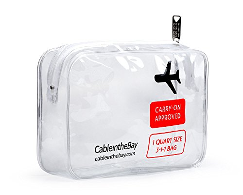 Airport Security Luggage - TSA Approved Toiletry Bag | Clear Quart Sized with Zipper | Travel Airport Airline Compliant Bag | Carry-On Luggage Travel Backpack for Liquids/ Bottles| Men's/Women's 3-1-1 Kit +10 Travel Hacks EBOOK