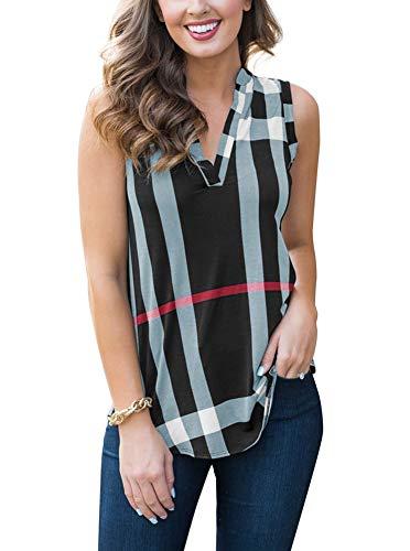Womens Summer V Neck Sleeveless Tank Tops Casual Plaid Tunic Blouse T Shirts Black Small