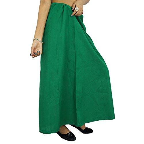 Las mujeres indias usan algodón de Bollywood de la enagua de la guarnición Inskirt sólida para Sari regalo para ella Teal verde