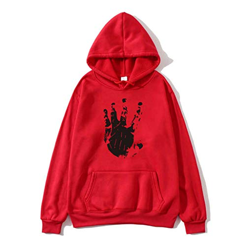 ❀HebeTop❀ Basic Lightweight Pullover Hoodie Sweatshirt for Women Red (Take Off Your Blouse And Your Underpants)
