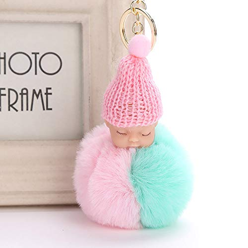 ur Fluffy PomPom Sleeping Baby Doll Key Chains Keyrings Bags Charm Pendant (G) ()