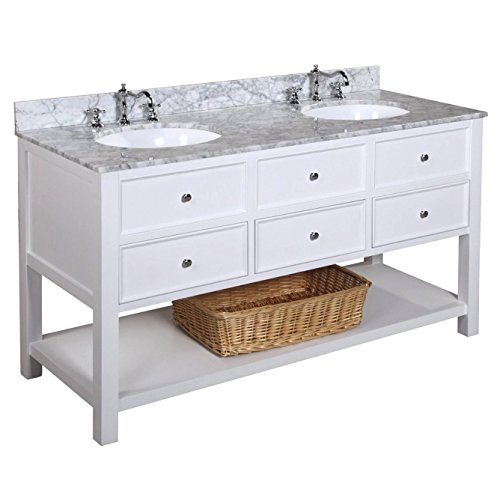 Kitchen Bath Collection KBCD60WTCARR New Yorker Double Sink Bathroom Vanity with Marble Countertop, Cabinet with Soft Close Function and Undermount Ceramic Sink, Carrara/White, 60