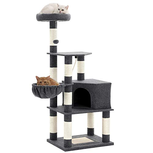 FEANDREA 58.3 inches Cat Tree with Padded Viewing Perch, Cat Tower for Multiple Cats UPCT60GYZ