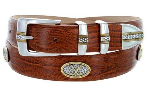 - Towne - Men's Italian Calfskin Embossed Designer Dress Belt with Golf Conchos (38 Lizard Tan)