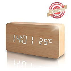 Wooden Digital Alarm Clock, Leeron Cube Wood-shaped Time Temperature and Sound Control Desk Alarm Clock for Kid, Home, Office, Daily Life, Heavy Sleepers (Wood)