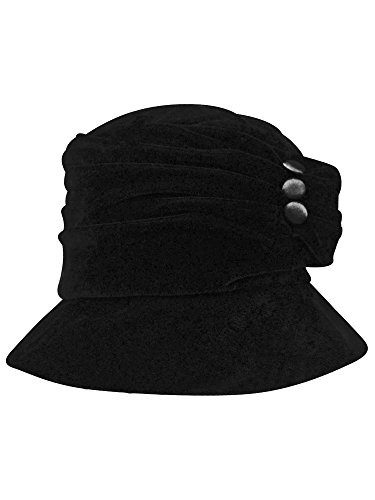 Luxury Divas Black Velvet Bucket Hat with Button Trim