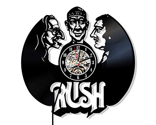 Levescale - Rush Vinyl Wall Clock - Exclusive Music Design - Perfect Band Gift for Musician, Man Or Woman - Decoration for Cafe, Club, Living Room - Rock Albums