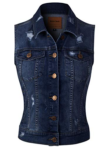 (Design by Olivia Women's Slim Fitted Distressed Denim Vest Outerwear Tops Dark Denim 3XL )