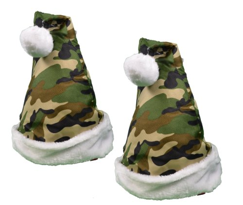 Set of 2 Camo Santa Hats Christmas Holiday Camouflage