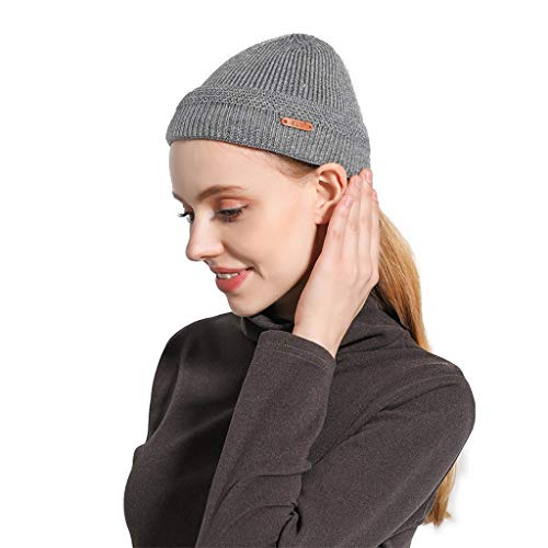 Unisex Plain Knit Hat,Crytech Winter Warm Solid Color Wool Knitted Cable Cuffed Beanie Cap Soft Stretch Fashion Slouchy Knitting Skull Snow Ski Hat for Women Men Outdoor Keep Warm (Gray, Thick)