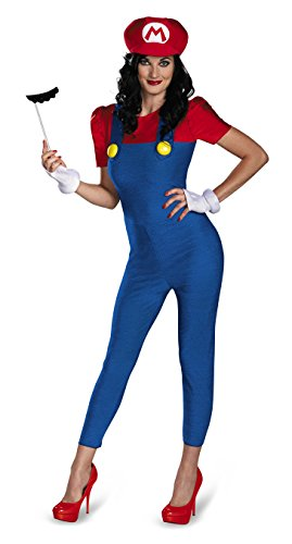 Mario Characters Costumes (Disguise Women's Nintendo Super Mario Bros.Mario Female Deluxe Costume, Blue/Red, Small/4-6)