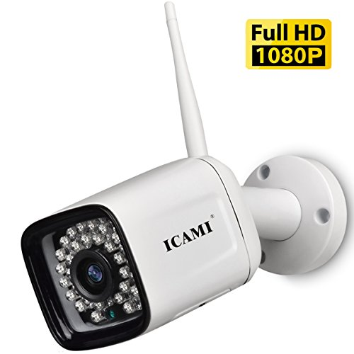 (ICAMI Wireless Security Camera Outdoor 1080p WiFi Waterproof SD Card with Remote View Two-Way-Audio Motion Detection)