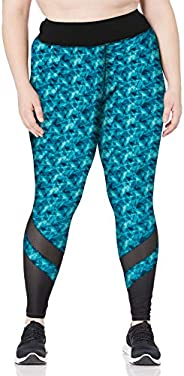 JUST MY SIZE Women's Plus Size Active Mesh Pieced Run Leg