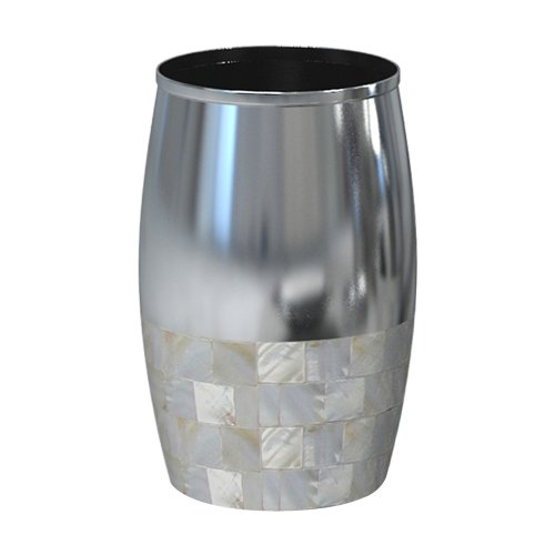 nu steel JA5H Jakarta Collection Bathroom, Decorative Holder, Cup for Water .Tumblers for Mouthwash-Rinsing, Metal with Mother of Pearl Finish, Small, MOP & Shiny