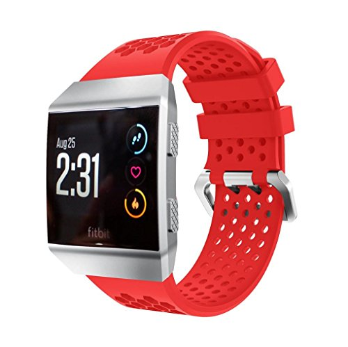 For Fitbit Ionic, Iusun Ventilate Silicone Perforated Accessory Watch Band Wrist (Red) Perforated Sewing