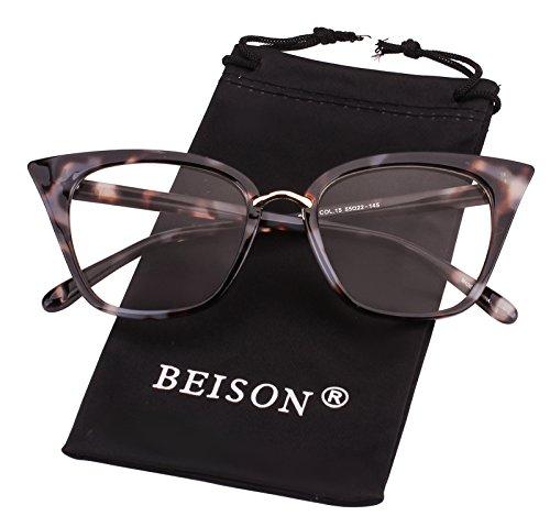 Beison Customize Prescription Glasses - Womens Cat Eye Mod Fashion Eyeglasses Frame Clear Lens (Grey Leopard, Customized Prescription Lens) (Wide Cat Glasses Eye)