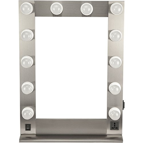 Hiker Hkl4205 Hollywood Vanity Mirror, Brush Metal Silver