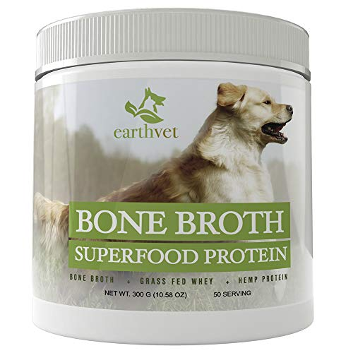 Earth Vet Bone Broth Superfood Protein for Dogs - Contains Bone Broth, Grass Fed Whey, Hemp Protein (50 Serving)