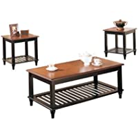 Poundex 3-Piece Coffee Table, Black/Oak