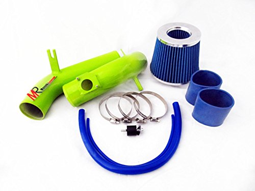 03 04 05 06 07 08 Mazda6 2.3L L4 Green Piping Cold Air Intake System Kit with Blue Filter