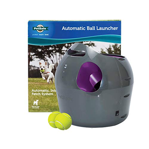 PetSafe Automatic Ball Launcher Dog Toy, Tennis Ball Throwing Machine for Dogs in Easy-Open Packaging (Fetch Puppy Machine)