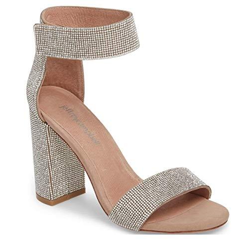 Irregular Choice Suede Heels - Jeffrey Campbell Lindsay JS Rhinetone Embellished Sandal Suede Nude 8.5