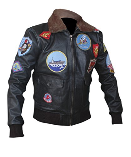 Top Gun Leather Jacket Costume (F&H Men's Top Gun Genuine Leather Bomber Jacket 2XL Black)