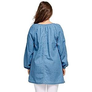 Ellos Women's Plus Size Denim Peasant Tunic