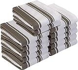 Utopia Towels Kitchen Towels, 15 x 25 Inches Cotton Dish Towels, Tea Towels and Bar Towels (Grey, Pack of 12)