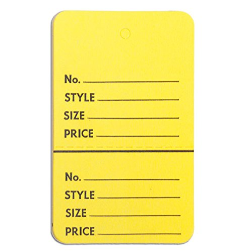 Yellow Pack of 1000 KC Store Fixtures 08906 Perforated Merchandise Tags without Strings 1-3//4 x 2-7//8