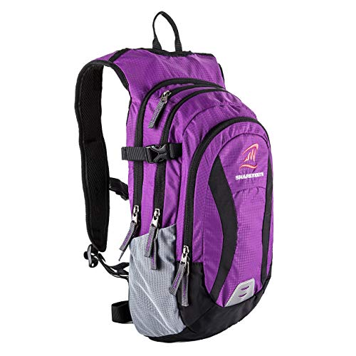SHARKMOUTH Hiking Hydration Backpack Pack with 2.5L BPA Free Water Bladder, Roomy and Comfortable for Long Day Hikes, Day Trips, Daypack Travel and Journey, Purple