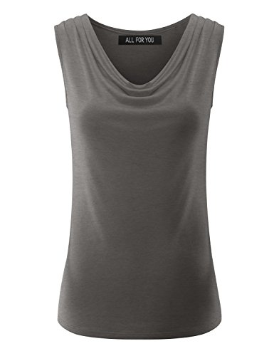 ALL FOR YOU Women's Ruched Sleeveless Blouse Stretch Tank Top Heather Charcoal (Heather Grey Sleeveless)
