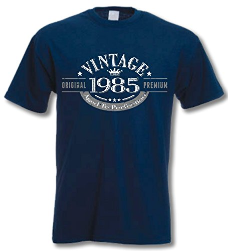 1985 Vintage Year, Aged to Perfection - 30th Birthday Gift Present T-Shirt Mens Navy XL