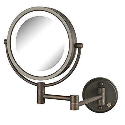 Jerdon HL88NL Two-Sided Swivel LED Lighted Wall Mount Mirror with 8x Magnification, 8.5 Inch, 64.8 Ounce