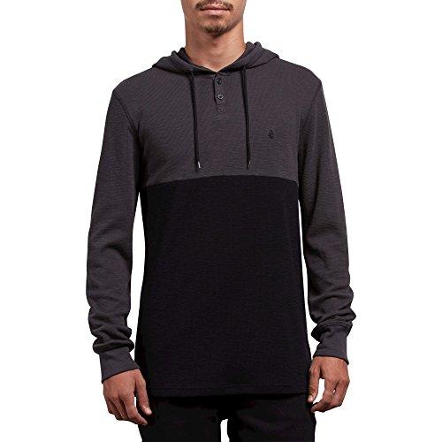 Volcom Men's Murphy Long Sleeve Hooded Thermal Shirt, Asphalt Black, Medium