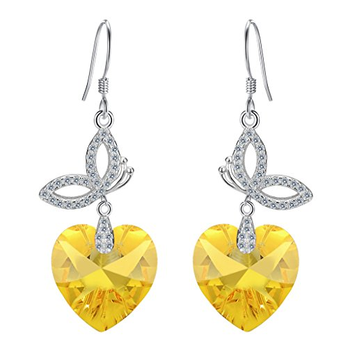 Mom Yellow Earrings (EleQueen 925 Sterling Silver CZ Love Heart Butterfly French Hook Dangle Earrings Yellow Made with Swarovski Crystals)