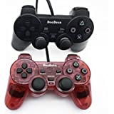 2 packs black and red Wired Game Pad Game Gaming Controller Joypad Gamepad Console Controller Joysticks Black for Sony Playstation 2 Ps2 w/ Dual Shock Dual Vibration