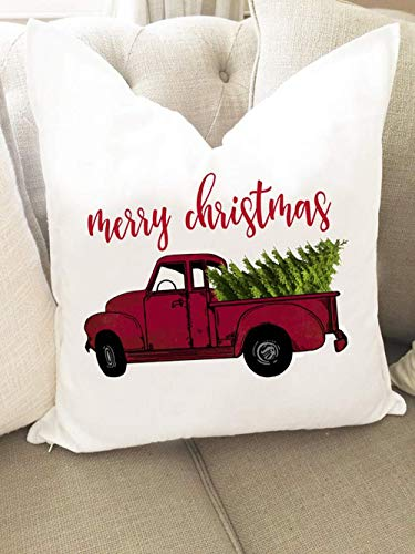 as pillows cover - Merry Christmas Pillow Cover - Christmas Tree Pillow cover - Christmas Tree Truck - Red truck Pillow – Christmas gift ()