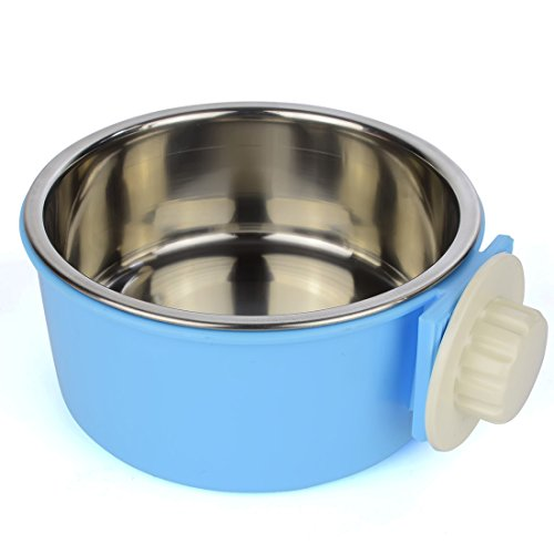GreeSuit Pet Bowl Water Food Bowls for Dog Cat Small Animals Hanging Removable Cage Feeding Stations – Stainless Steel, Blue (blue)