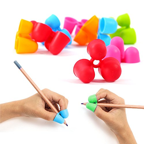 6pcs Pencil Grips Writing Aid Training Grip Utensils/Pencil Holder For Adult/Kids/Kindergarten, Righties & Lefties Suitable, Mixed Color